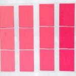 opp袋掛け合わせピンク色の変化